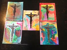 A Slice of Smith Life: Holy Week Happenings: Tuesday: Water Color Crucifix & Growing Easter Grass {post 2 of 3}