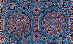 Traditionally, Ajrak is the name of a block printed cloth with deep crimson red and indigo blue background, bearing symmetrical patterns with interspersed unprinted sparkling white motifs.