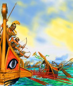 Greek triremes ships at the Battle of Salamis