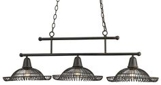 "Sturdy rods of wrought iron hold three lights of steel wire in a rectangular formation. A Old Iron finish is over all. The jaunty form of the three wire fixtures give this chandelier a special appeal.Dimensions:  45""W x 14""Dia x 14""H (with chain 87""H)"