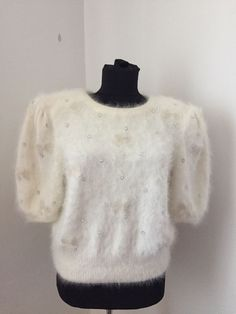 Maria Theresia Spieker West Germany Sweater White Angora Padded M Short White Sweaters, Sweaters For Women, Thrifting, Germany, Ebay, Shopping, Fashion, White Blouses, Moda
