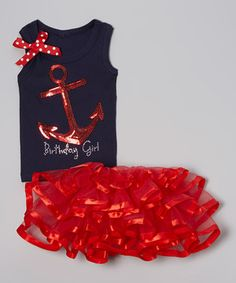 This Navy Birthday Anchor Tank & Red Tutu - Infant, Toddler & Girls by So Girly & Twirly is perfect! #zulilyfinds