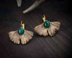 Ginkgo biloba leaves earrings, Creative earrings, Colorful earrings, magic earrings, Sparkling earrings, copper earrings, Fairy Earrings