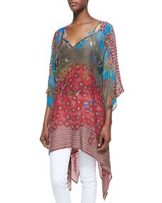 T898Y Johnny Was Collection 3/4-Sleeve Handkerchief-Hem Tunic