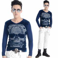 Men Navy Blue Skull Knit Long Sleeve Punk Rock Emo T Shirt Top Clothes SKU-11409324