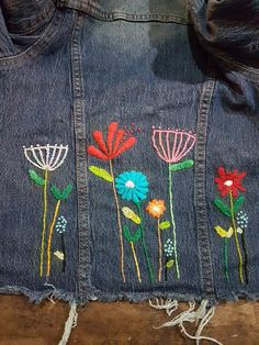 Denim Jacket Patches, Sewing Ideas, Upcycle, Embroidery, Shoe Bag, Jeans, Clothing, Jackets, Accessories