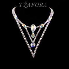 """""""At the Savoy"""" - Swarovski ballroom necklace. Ballroom dance jewelry, ballroom dance dancesport accessories. www.tzafora.com Copyright ©️️ 2017 Tzafora."""
