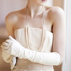 Original Vintage Elbow Length Bridal Gloves in Soft Cream Leather Groom Wedding Accessories, Wedding Jewelry, Timeless Wedding, Classic Weddings, Bride Book, String Of Pearls, Pearl And Lace, Pearl Cream, Headpiece Wedding