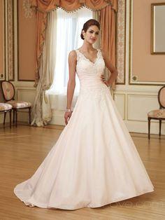 A-Line V-neck Long Satin Wedding Dress