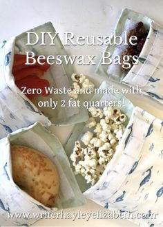 Zero Waste lunch solution: DIY Reusable Beeswax bags made with 2 fat quarters of fabric