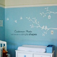 Cute Birds and Branches Decal Vinyl Wall Decal by SimpleShapes