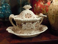 Beautiful brown transferware soup tureen, omg, this matches my thrifted plates. now I need to find this!