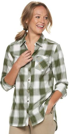 2b6bd4a16e Sonoma Goods For Life Women's SONOMA Goods for Life Essential Supersoft  Flannel Shirt
