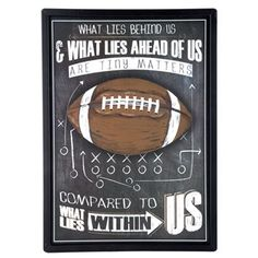 This Framed Football MDF Chalkboard Wall Sign is the perfect motivational accent⎜Open Road Brands Football Nursery, Football Rooms, Football Bedroom, Kids Football, Football Fever, Football Birthday, Football Stuff, Black Chalkboard, Chalkboard Signs