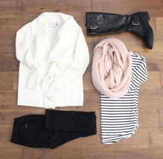 striped loose fitting shirt, black skinny jeans, cream cardigan, black boots - all softened by a ballet pink infinity scarf