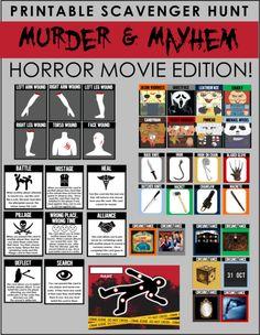 Printable Horror Movie Scavenger Hunt - Murder & Mayhem