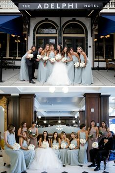 Fun wedding with a great bridal party in front of The Adelphi Hotel in Saratoga Springs, NY