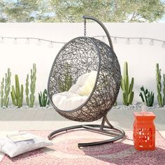 Bungalow Rose Herculaneum Encase Swing Chair with Stand Colour: Khaki/Cream Egg Swing Chair, Hammock Chair, Hammock Stand, Swinging Chair, Diy Chair, Swing Chairs, Hanging Chairs, Hanging Tent, Garden Chairs