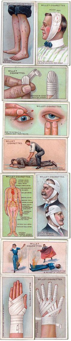 Wills cigarette cards - first aid,  1913 (I'm not sure the best tactic if your clothing catches on fire is to lie around and wait for the nearest man to smoother you...)