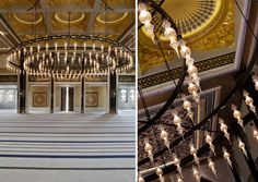Golden Dome Mosque, Qatar... delicate glass lights line a circular centerpiece