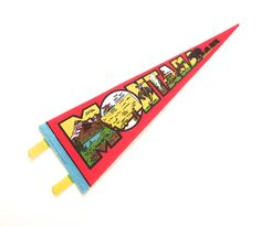 Montanta Souvenir Pennant, Vintage Printed Felt Flag from the 1980s by planetalissa on Etsy