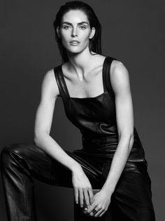 Hilary Rhoda Black leather overalls Yves Saint Laurent