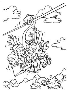 Kleurplaat Wintersport Colouring Pages, Coloring Sheets, Coloring Books, Christmas Colors, Christmas Crafts, Bergen, Rainy Day Activities, Young Ones, Winter Sports