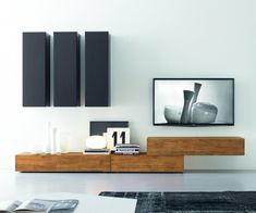 Modern TV Wall made of solid wood. Italian hand made. Custom ddesign FGF Mobili Wohnwand C14B