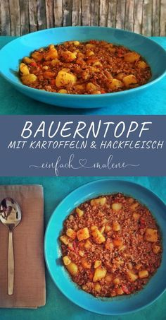 Farmer& pot with minced meat, potatoes and peppers-Bauerntopf mit Hackfleisch, Kartoffeln und Paprika Delicious, you can cook the farmer& pot without any bag products. We love the dish and cook it very often - Healthy Food Recipes, Easy Soup Recipes, Healthy Dinner Recipes, Crockpot Recipes, Diet Recipes, Chicken Recipes, Dessert Recipes, Carne Picada, Vegetarian Meals