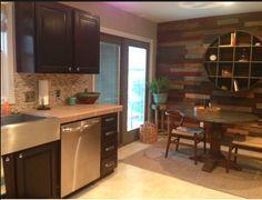 Kitchen With Pallet Wall Finally Finished.   Orange Oak is Gone!