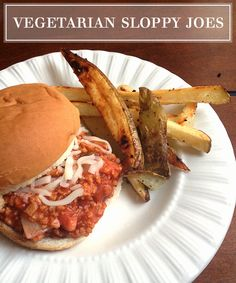Vegetarian Sloppy Joes Recipe -- quick & easy, dinner on the table in 10 minutes!  #vegetarian #recipe