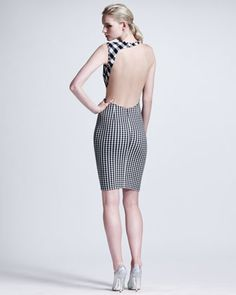 Stella McCartney Contoured Mesh-Inset Gingham Sheath Dress - Neiman Marcus