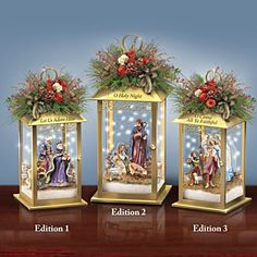 Officially licensed Thomas Kinkade's art inspires fully sculpted Nativity scenes in metal lanterns. Outside Christmas Decorations, Christmas Lanterns, Cool Christmas Trees, Christmas Nativity Scene, Noel Christmas, Diy Christmas Ornaments, Holiday Centerpieces, Christmas Decorating Ideas, Christmas Things