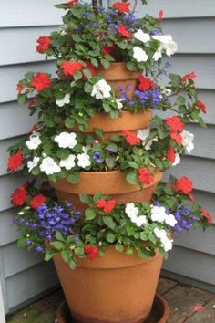 Tiered flower pots. From Hometalk