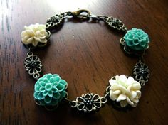 Turquoise and Cream Cabochon Resin Flower Antique Bronze Bracelet @ AMWestchester on Etsy.com