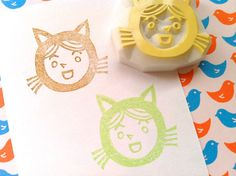 my new work. kitten boy hand carved rubber stamp hand carved by talktothesun