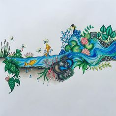 One side of a double page  #johannabasford #enchantedforestcoloringbook #carandache #carandachepablo #mycreativeescape #coloringbook #coloringbookforadults