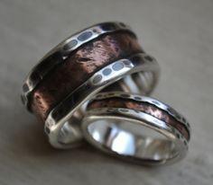 conjunto de anillo de boda rústica - plata y cobre - handcrafted y oxidado finas plata y cobre vendas de boda - modificado para requisitos p...
