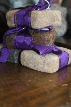 Lavender Oatmeal Felted Soap with Alpaca Fiber