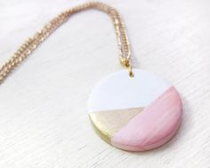Round Geometric Clay Pendant Necklace Pink/Gold
