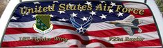 United States Air Force 1st Fighter Wing truck rear window mural