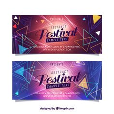Geometric banners of music festival Free Vector Christmas Party Poster, Halloween Party Poster, Ad Design, Flyer Design, Graphic Design, Banners Music, Web Banners, Retro Logos, Vintage Logos