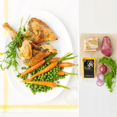 Fast, 5-Minute Meals: Roasted Tarragon Chicken with Spring Carrots and Peas