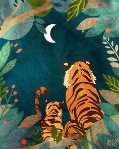 Tigers at Night – Vertical Print - kunst illustration Tiger Illustration, Digital Illustration, Art Tigre, Jungle Art, Tiger Art, Tiger Drawing, Guache, Art Plastique, Animal Drawings
