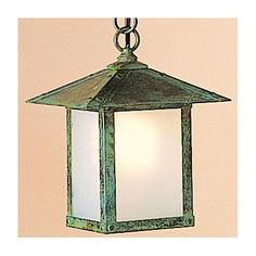 Arroyo Craftsman Evergreen 1-Light Outdoor Hanging Lantern Overlay: T-bar, Finish: Pewter, Shade Type: Amber Mica