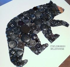 11x14 Creative Gift Bear Button Art American Black by BellePapiers