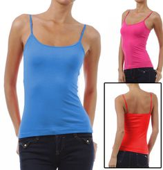 626808fc984a3 CAMI Camisole with Built in Shelf BRA Adjustable Spaghetti Strap Layer Tank  Top  ActiveBasics