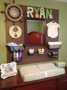 peg board over changing table
