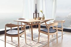 Replica Hans Wegner Round Chair Ash by Hans Wegner - Matt Blatt Low Back Dining Chairs, Timber Dining Table, Dining Room Chairs, Kitchen Chairs With Arms, Oak Table, Scandinavian Dining Chairs, Contemporary Dining Chairs, Scandinavian Style, Modern Chairs