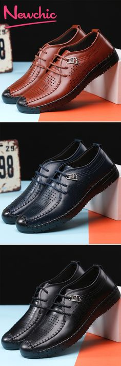 85028279b961 Men Hand Stitching Hole Breathable Lace Up Leather Shoes